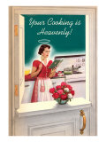 Your Cooking is Heavenly  Woman Reading Cookbook