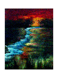 Red Sky Pointillism Landscape