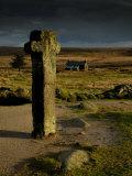 Nun's Cross  with Nun's Cross Farm Behind  Stormy Sky  Dartmoor Np  Devon  UK