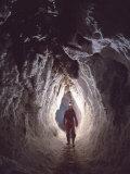 Potholer Wallking Along Narrow Underground Passage  Cova Lachambre  Ria  Conflent  Pyrenees  France