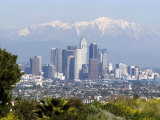 View of Downtown Los Angeles Looking Towards San Bernardino Mountains  California  USA