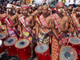 Portrait of a Group of Drummers During the Mardi Gras Carnival  Philippines  Southeast Asia
