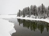 Malign River and Malign Lake in Winter  Jasper National Park  Alberta  Canada