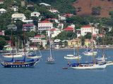 Sailing Boats Moored Off Charlotte Amalie  St Thomas  US Virgin Islands  West Indies  Caribbean