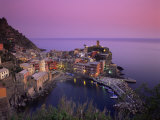Village and Harbour at Dusk  Vernazza  Cinque Terre  Liguria  Italy  Mediterranean