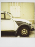 Polaroid of Old Black and White Citroen 2Cv Parked on Street  Paris  France  Europe