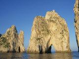 Rock Arches known as the Faraglioni Stacks Off the Coast of the Island of Capri  Campania  Italy