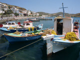 Fishing Boats in the Harbor at Skala on Patmos  Dodecanese Islands  Greek Islands  Greece  Europe