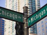 North Michigan Avenue and Chicago Avenue Signpost  the Magnificent Mile  Chicago  Illinois  USA