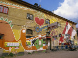 Bright Mural on a Bar in Christiania  an Independant Community Project  Copenhagen  Denmark