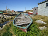 Small Boat on Land in the Lobster Fishing Community  Peggys Cove  Nova Scotia  Canada