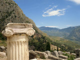 Close-Up of Capital on a Column with Hills in the Background  at Delphi  Greece