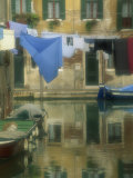 Laundry Hung over Canal to Dry  the Ghetto  Venice  Veneto  Italy  Europe