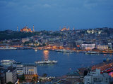 Skyline of Istanbul with a View over the Golden Horn and the Galata Bridge  Istanbul  Turkey