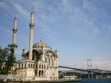 Ortakoy Mecidiye Mosque and the Bosphorus Bridge  Istanbul  Turkey  Europe