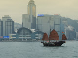 One of the Last Remaining Chinese Sailing Junks on Victoria Harbour  Hong Kong  China