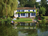 House with Pond in Garden  Coulon  Marais Poitevin  Poitou Charentes  France  Europe