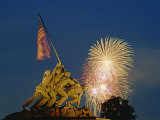 Fireworks over the Iwo Jima Memorial for Independence Day Celebrations  Arlington  Virginia  USA