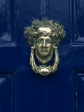 Blue Painted Door and Knocker in the Centre of the City of Dublin  Eire  Europe