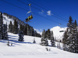 Chair Lift Carries Skiers at Alta  Alta Ski Resort  Salt Lake City  Utah  USA