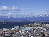 Boats Float in the Beagle Channel  the Capital of Tierra Del Fuego Province  Ushuaia  Argentina