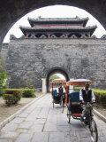 Tourist Rickshaw at a City Gate Watch Tower  Qufu City  Shandong Province  China