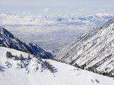 Salt Lake Valley and Fresh Powder Tracks at Alta  Alta Ski Resort  Salt Lake City  Utah  USA