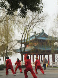 Women Practising Tai Chi in Front of a Pavilion on West Lake  Hangzhou  Zhejiang Province  China