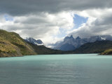 Two Towers Stand in Front of Rio Paine in Torres Del Paine National Park  Chile  South America