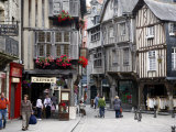 Half Timbered Houses in the Old Town of Dinan  Brittany  France  Europe