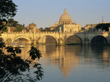 River Tiber and Ponte Sant'Angelo  St Peter's Basilica and the Vatican Beyond  Rome  Lazio  Italy