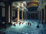 People Bathing in the Hotel Gellert Baths  Budapest  Hungary  Europe