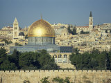 Dome of the Rock and Temple Mount from Mount of Olives  Jerusalem  Israel  Middle East