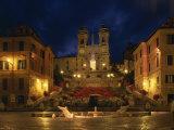 Spanish Steps Illuminated at Night in the City of Rome  Lazio  Italy  Europe