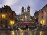 Spanish Steps Illuminated in the Evening  Rome  Lazio  Italy  Europe