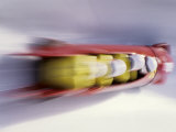 Blurred Action of 4 Man Bobsled Team  Lillehammer  Norway