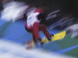 Blurred Action of Snowboarder  Nagano  JPN