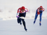 Female Speed Skaters in Action