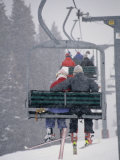 Couple Riding Up the Ski Lift During a Snow Storm  Vail  Colorado  USA