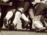 Detail of the Feet of a Group of Ruby Players in a Scrum  Paris  France