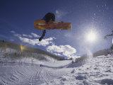 Snoweboarder in Action on the Vert  Aspen  Colorado  USA