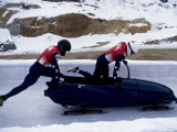 Two Man Bobsled Team Pushing Off at the Start   Lake Placid  New York  USA