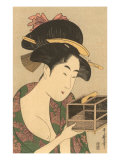 Japanese Woodblock  Lady with Box