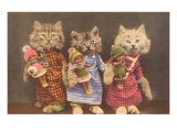 Dressed Kittens with Dolls