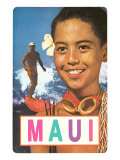Maui  Surfer and Diving Boy