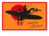 Greetings for Halloween  Cat and Witch in Plane