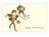 Dapper Frog with Bouquet  Happy Anniversary