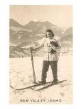 Sun Valley  Idaho  Girl Skiing with Cat