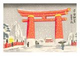 Japanese Illustration  Torii Gate in Snow