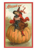 Halloween  Victorian Witch on Pumpkin
